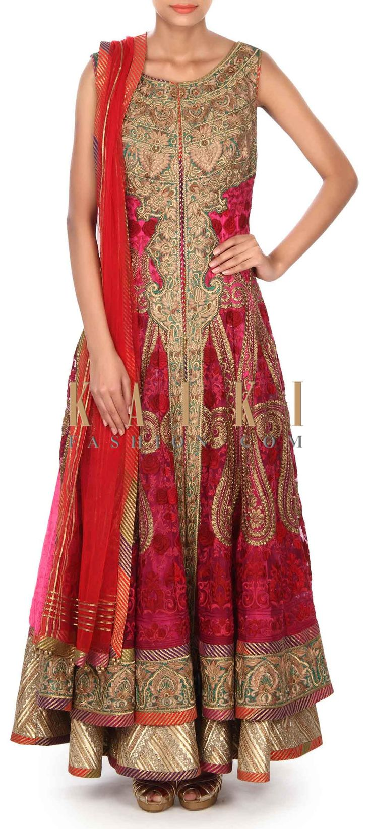 Pink anarkali suit embellished in paisley and rose motif only on Kalki