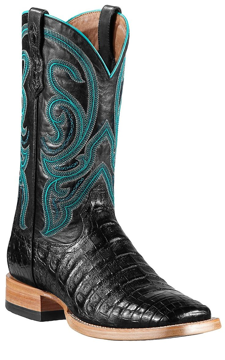 Ariat® Men's Black Caiman Belly with Black Top Stillwater Double Welt Sqaure Toe Exotic Cowboy Boots