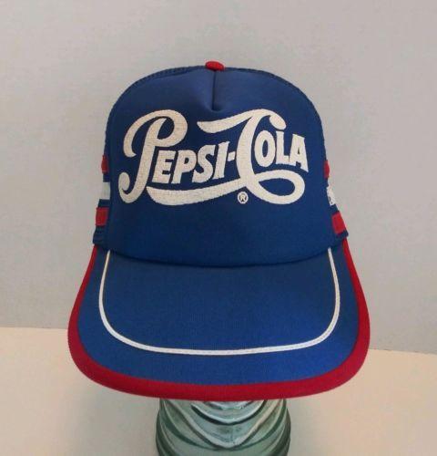 b8842be6758 Vintage-Pepsi-Cola-3-Stripe-SnapBack-Trucker-Hat-Mesh-Cap-Made-in-USA-NOS