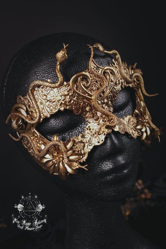 Gold Medusa Half Mask PVC Plastic Adult Greek Mythology Costume Accessory Snakes