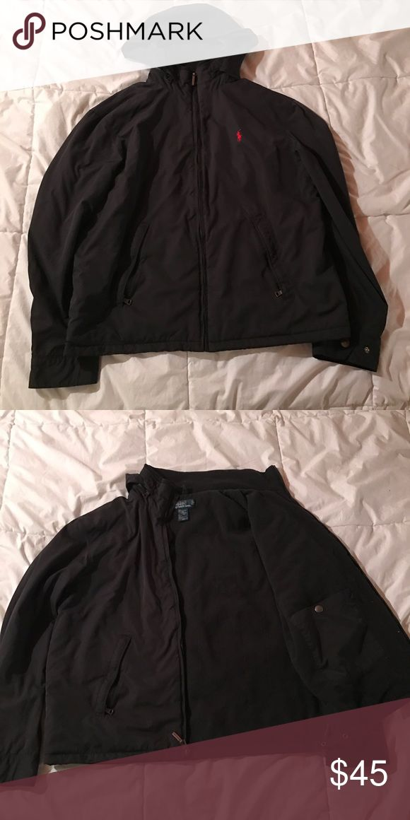 Black Polo Jacket Black Polo Jacket, hood can be out or put away in the neck Polo by Ralph Lauren Jackets & Coats