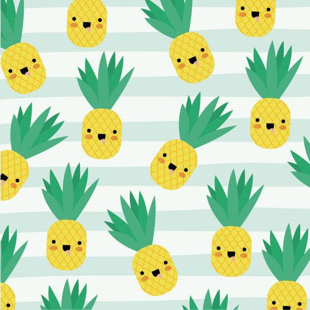 Pineapple Kawaii Fruits Pattern Cute Pineapple Wallpaper Kawaii Fruit Pineapple Drawing