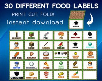 minecraft printable food labels - Google Search                                                                                                                                                      More