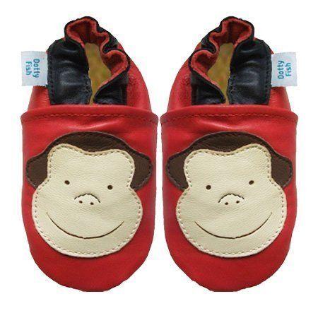 Dotty Fish - Chaussures de bébé en cuir souple Motif rouge de singe Dotty Fish.