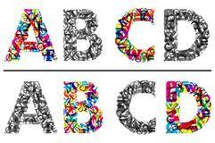 O alfabeto rotula A, B, c e D Fotografia de Stock