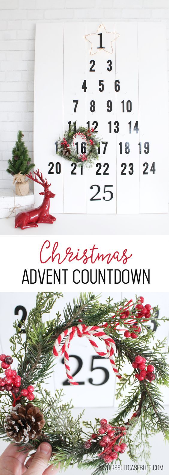 Christmas Tree Advent Countdown tutorial via sisterssuitcaseblog.com, or register to make your own at @HomeDepot's #DIHWorkshop #sponsored