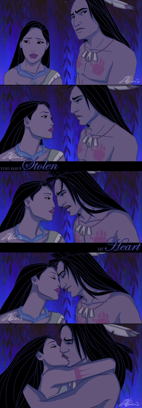 Ok this is MY personal opinion don't hate me. I think tht Kocoum nd Pocahontas should have gotten married. Not john smith nd Pocahontas fall in love. I think Kocoum nd Pocahontas are a cute couple AND he's waaay HOTTER than smith 2. ☺  ⤴THIS ⤴ is how Pocahontas should've ended. C'mon how many ppl really liked how it ended for reals? She didn't even get her Prince Charming at the end he went back to bloody Britain and don't get me started on john rolf