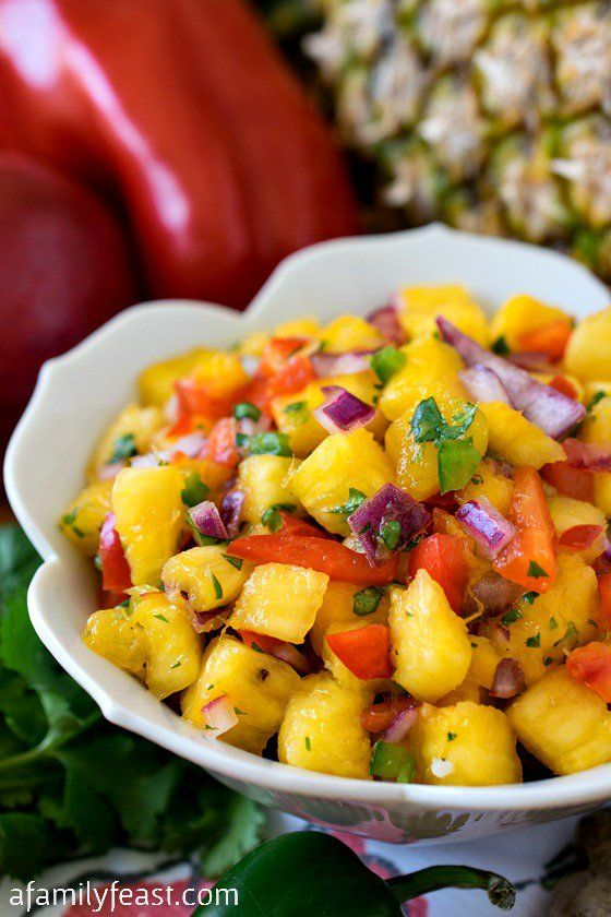 Pineapple Mango Salsa - Easy to make and super delicious!  You'll make this recipe again and again!!