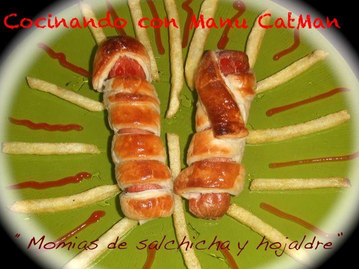 CocinandoconCatMan.com | Recetas de cocina con fotos. Recetas Paso a Paso. Gastronomía: Momias de salchicha y hojaldre para Halloween
