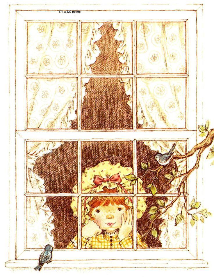 Grille point de croix Sarah kay regarde par la fenêtre