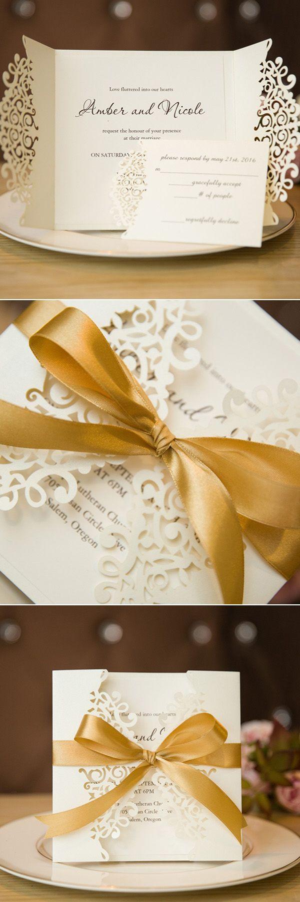 elegant laser cut wedding invitations with gold satin ribbon swws006 #stylishweddinginvitations