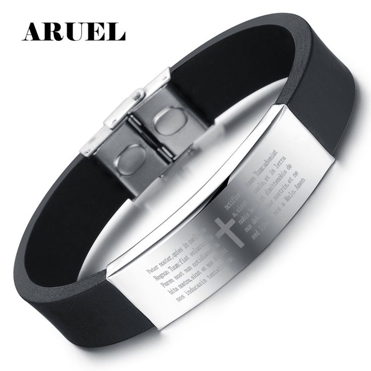 Cheap male jewelry, Buy Quality cross bracelet directly from China bracelet male Suppliers: ARUEL Men Wristband Smooth Stainless Steel Cross Bracelet Fashion Genuine Black Silicone Length Adjustable Bracelet Male Jewelry