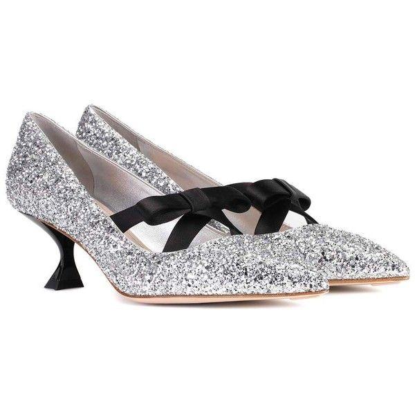 Miu Miu Glitter Kitten-Heel Pumps ($855) ❤ liked on Polyvore featuring shoes, pumps, silver, miu miu shoes, silver pumps, silver glitter shoes, silver kitten heel pumps and silver shoes