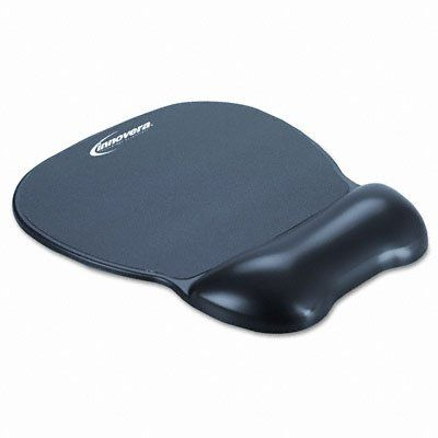Innovera Gel Mouse Pad with Wrist Rest, Nonskid Base, 8-1/4 x 9-5/8, Black