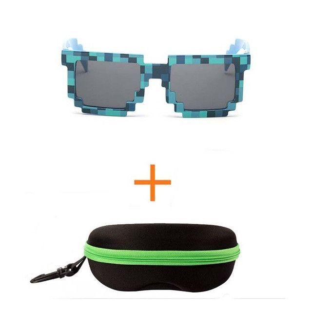 4 color! Fashion Minecraft Sunglasses Kids cos play action Game Toys Square Glasses with EVA case gifts for Men Women