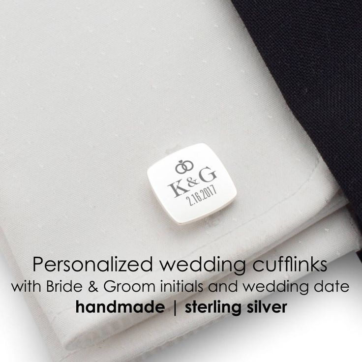 Personalized Wedding sterling silver cufflinks Date and
