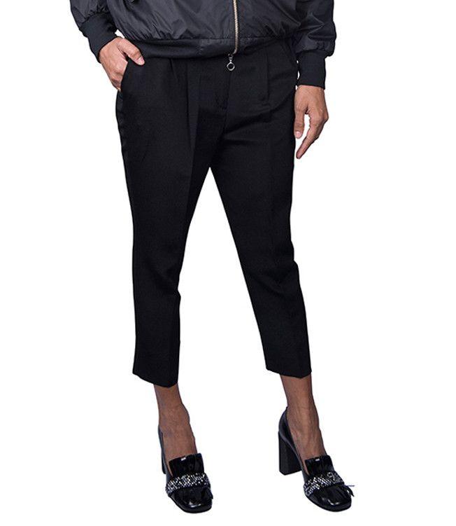 Black Kimono Slim Pants