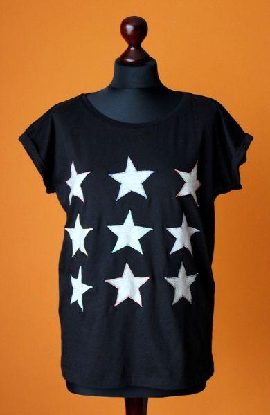 RoomStyle Bluzka Czarna Gwiazdy M,L w RoomStyle na DaWanda.com