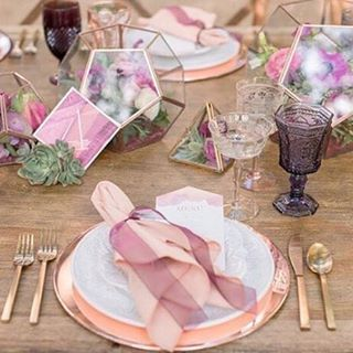 Gorgeous repost from  @harmonycreative - we loved being a part of this tabletop!  Mixed // Metals #createharmony This #tablescape is a great example of a couple of our #2017 #weddingtrends predictions - Mixed Metals and Hard vs. Soft. I love the #copper t