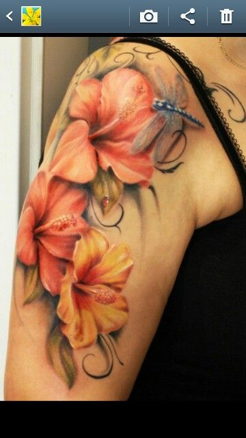 I love these....I never see pretty hibiscus tattoos; they always look so ghetto. This is beautiful.