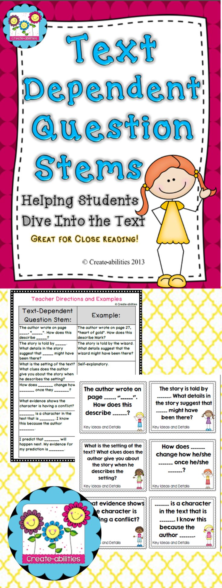 Text-dependent question stems. Great for close reading, literature circles, guided reading and more! $ #textdependentquestions #createabilities #reading