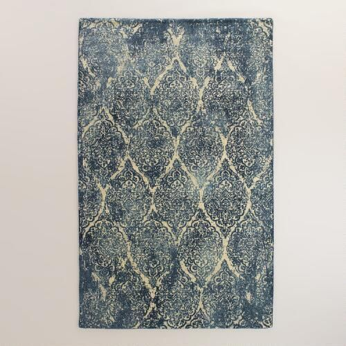 One of my favorite discoveries at WorldMarket.com: 5'x8' Indigo Medallion Print Tufted Selina Area Rug