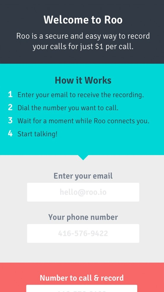 Roo. A secure and easy call recorder for Windows, Mac, Linux, Android, iOS and Blackberry.