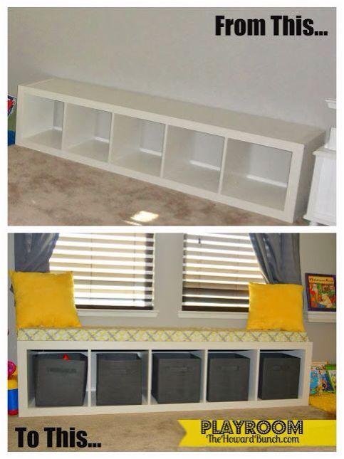 IKEA book cube turned seat & toy storage.