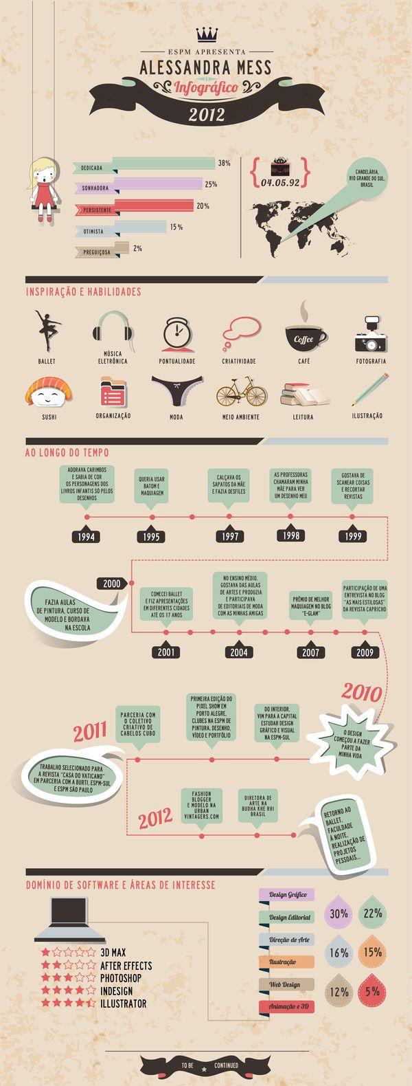 Infográfico pessoal by Alessandra Mess, via Behance #infografia #infographic #curriculum #cv #empleo