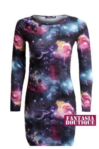 Fantasia - Damen Bodycon Kleid Langer Arm Galaxie Aufdruck Dehnbar: Amazon.de: Bekleidung
