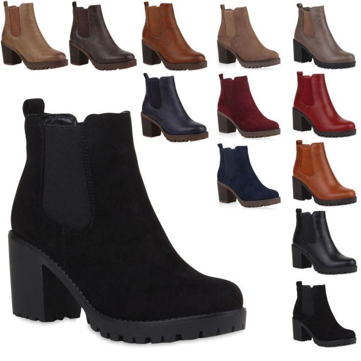 Neu Damen Stiefeletten Blockabsatz Chelsea Boots Profilsohle 177-276 фото