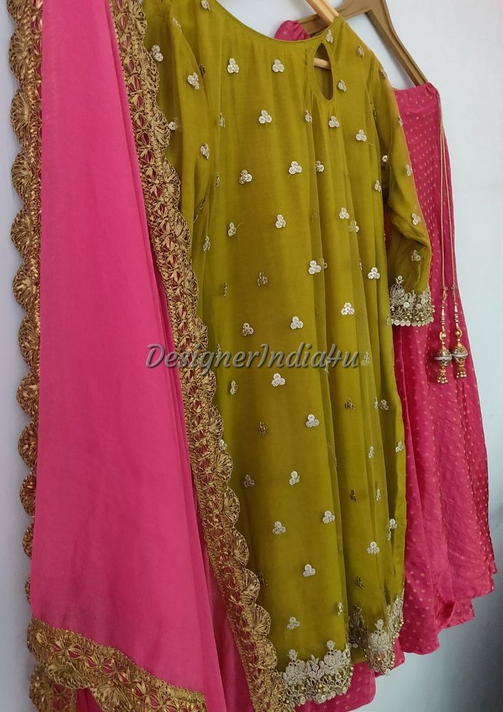 7151dc9115abff Indian Designer Mustard Long top Pink Lehenga Dupatta for Women and Girls  #Handmade #Choli