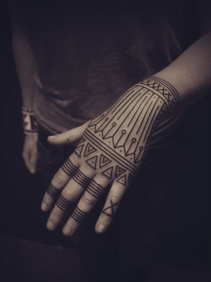 black work tattoo hand girl