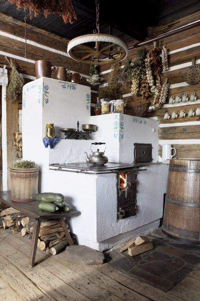 masonry stove poland. Swear to God, my mother grew up in a single room home like this.