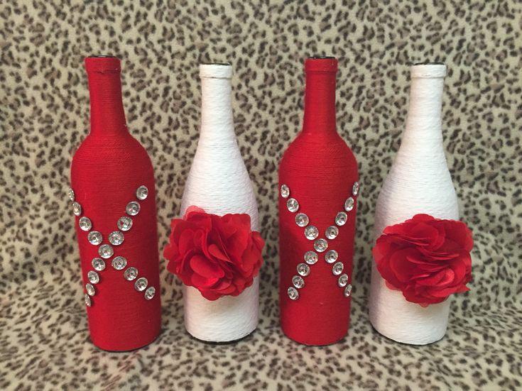Valentine's Day themed wine bottle decor XOXO
