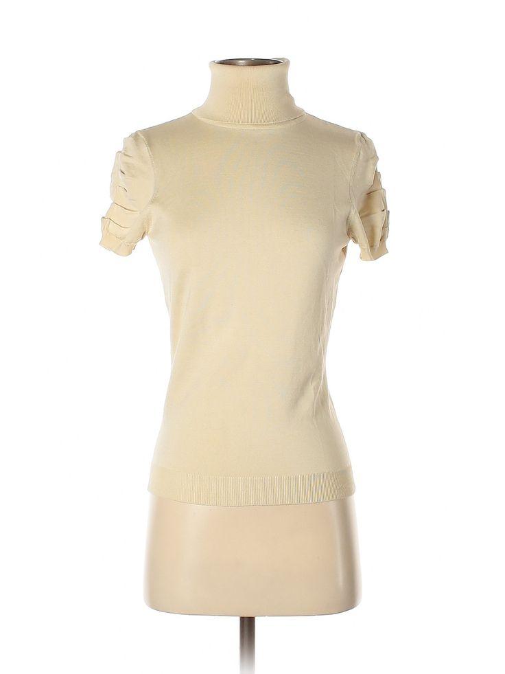 Per Se Silk Pullover Sweater: Beige Solid Turtleneck Women's Sweaters & Sweatshirts – Size Small