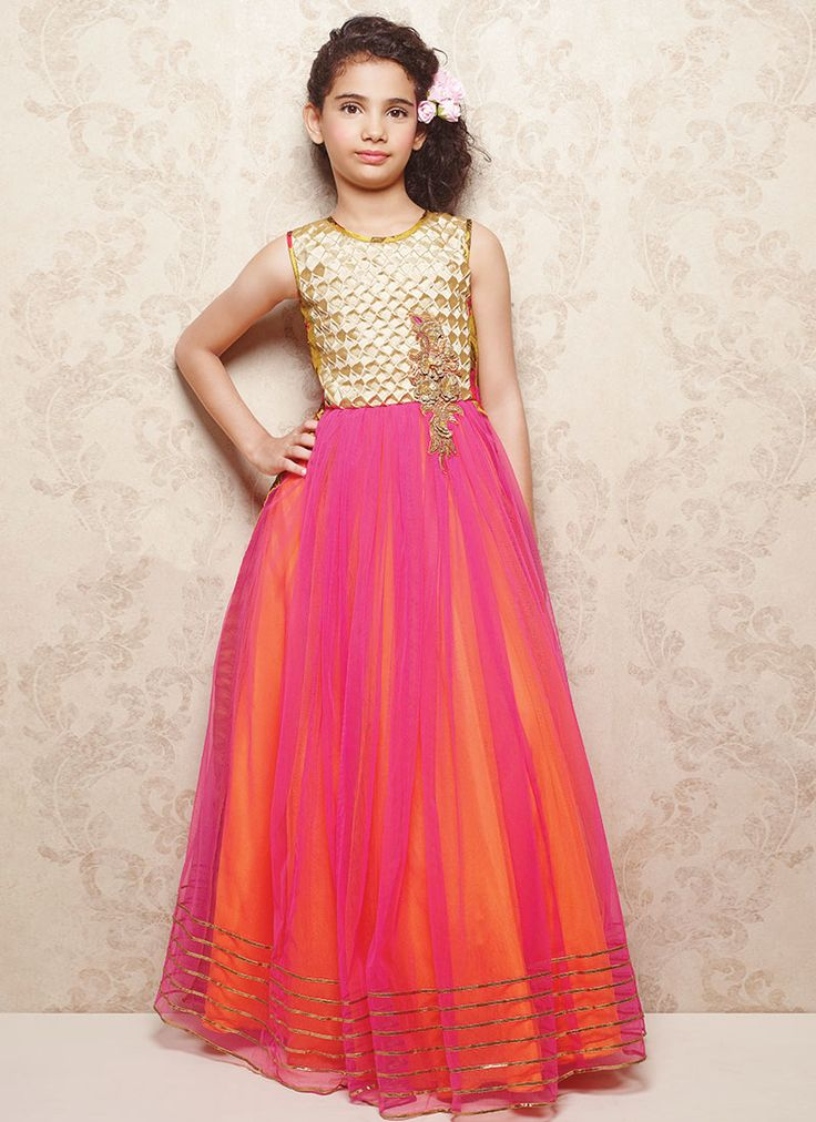 Doll Bright Pink Net Kids Gown