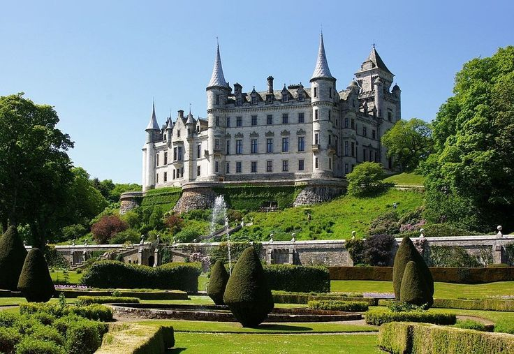 Dunrobin Castle, the seat of the Earl of Sutherland, in the Scottish Highlands