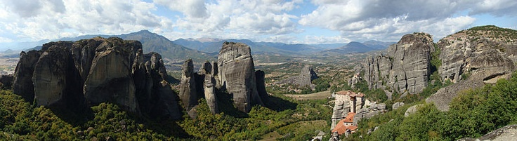 Meteora Valley, Greece.   Meteora meaning 'suspended in the air' this is a UNESO World Heritage listed site where monks settled on these sandstone peaks from the 11th century onwards. Under almost impossible conditions, 24 monasteries were built on these peaks, the rocks rising 400m above the Valley and the small town of Kalambaka.