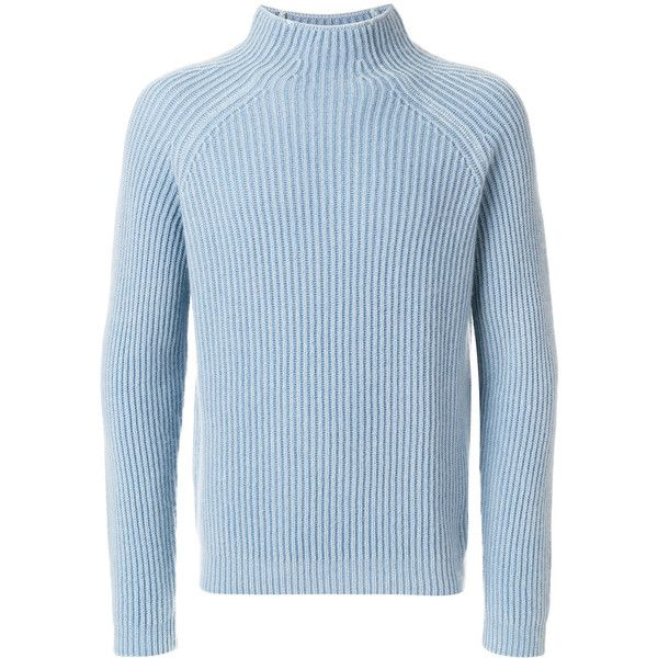 Iris Von Arnim ribbed jumper ($1,273) ❤ liked on Polyvore featuring men's fashion, men's clothing, men's sweaters, blue, mens blue sweater, mens long sleeve polo sweater, mens ribbed sweater, mens cashmere sweaters and mens funnel neck sweater