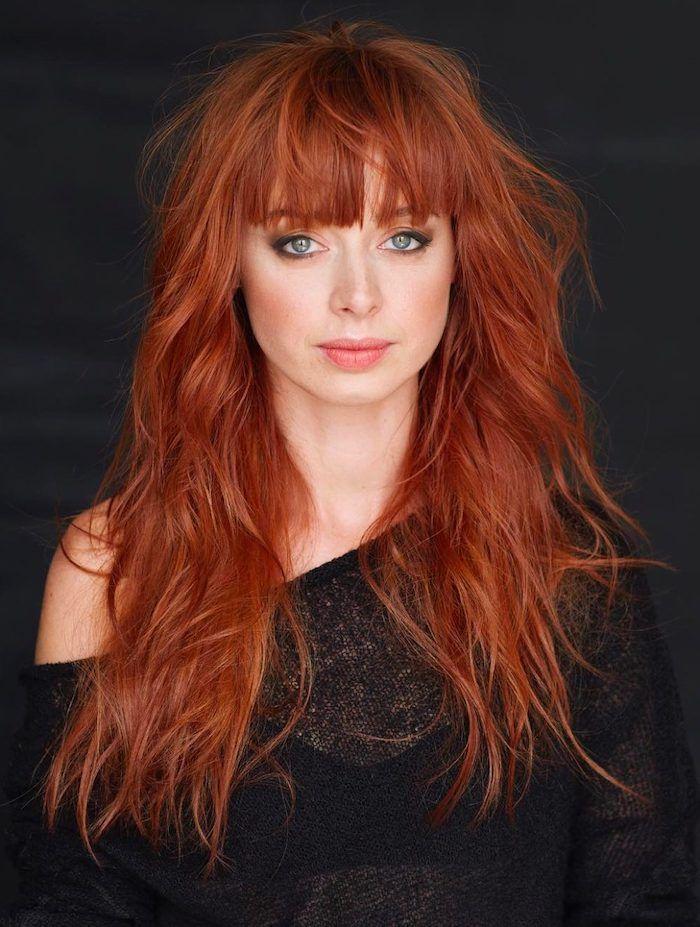 1001 Frisuren Und Stylings Fur Kupfer Haarfarbe Kupferrote Haare Schone Rote Haare Lange Haare Mit Pony
