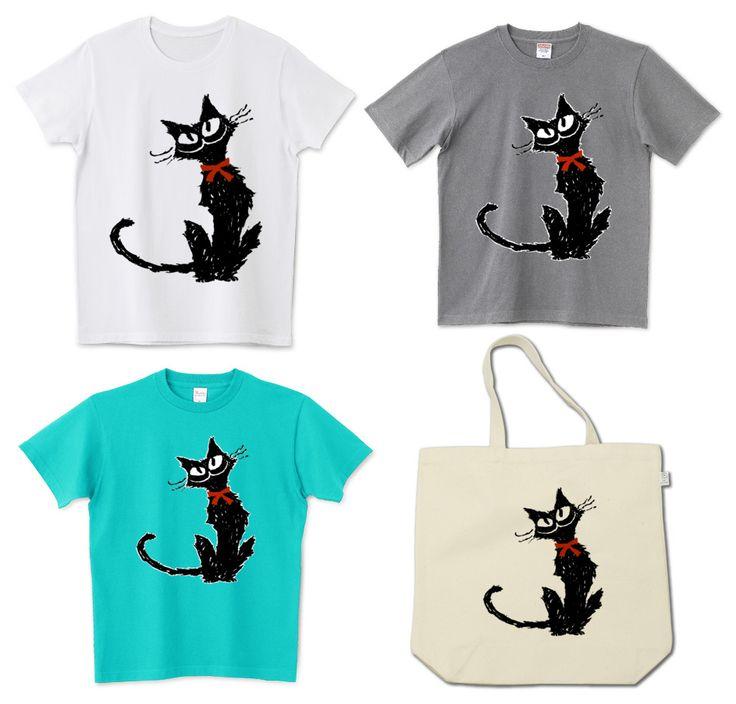 Tシャツ『 赤いリボンと黒い猫 』 #Tシャツ #パーカー #猫 #ネコ #黒猫 #リボン