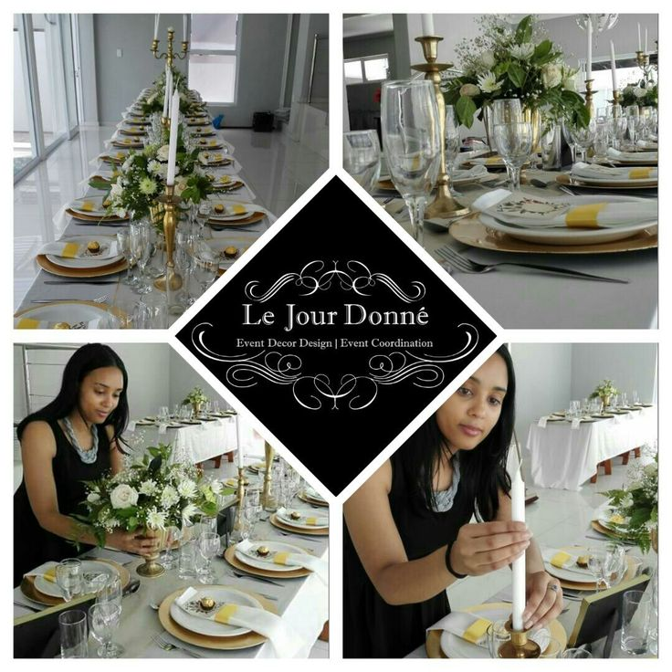 White, gold and greenery event