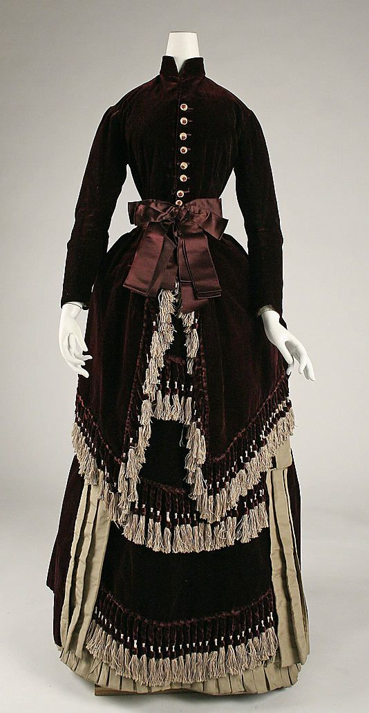 Dress  Date: ca. 1880 Culture: American Medium: silk Dimensions: (a) Length at CB: 52 in. (132.1 cm) (b) Length at CB: 40 in. (101.6 cm) Credit Line: Gift of Mr. Frank Carrington, 1951 Accession Number: C.I.51.26.13a, b