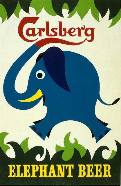 """Advertisement / Poster """"Carlsberg Elephant Beer"""" designed by Danish artist Kjeld Nielsen for Carlsberg Brewery, 1959"""