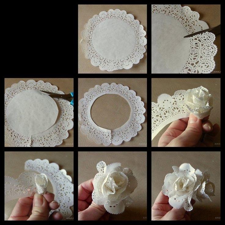 Rosas con papel o tela manualidades pinterest - Como hacer flores ...