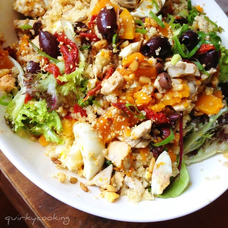 Thermomix Quinoa salad - with chicken and pumpkin steamed in the varoma. Very versatile.