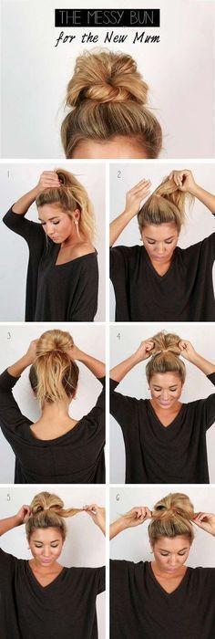 lange Haarmodelle Einfache und einfache DIY Frisuren Messy Bun