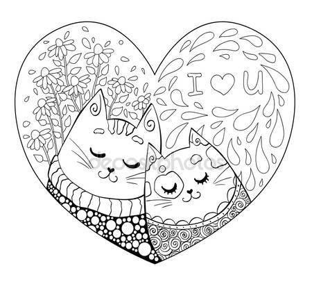 Downloaden - Twee romantische katten verliefd op de achtergrond met bloemen. De hand getekende illustratie voor Saint Valrntine de dag. Kleurboek voor volwassenen. Kleurplaat. Zentangle stijl. Hart vorm — Stockillustratie #100995128