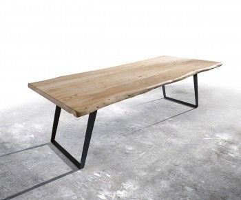 Baumtisch Live-Edge 260x100 Akazie Gebleicht Platte 5,5cm Gestell schräg Bild 1